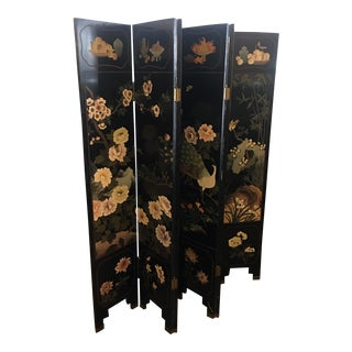 Chinese Lacquered Peacock Motif Screen