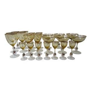 Czech Crystal Amber Stemware - Set of 24