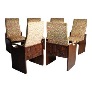 Lane Brutalist Walnut Dining Chairs - Set of 6