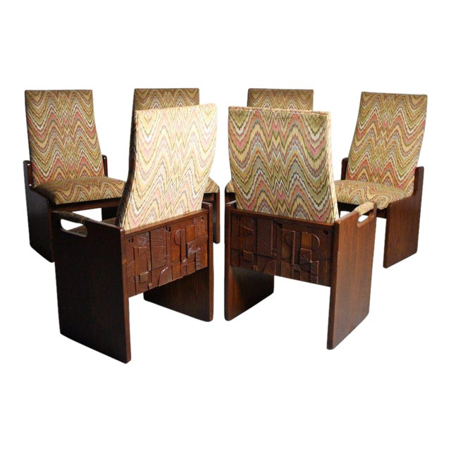 Lane Brutalist Walnut Dining Chairs - Set of 6 - Image 1 of 6