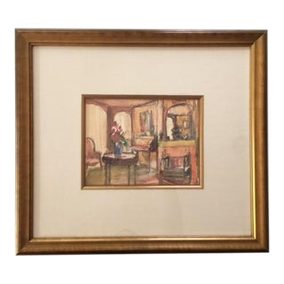 Framed Interior Scene Watercolor Painting