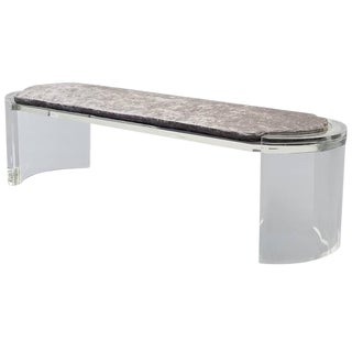 Karl Springer Thick Lucite Mid Century Bench