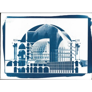 Neoclassical Cutaway by Etienne-Louis Boullée, Architectural Cyanotype on Watercolor Paper, A4 Size (Limited Edition)