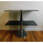 Image of Smoked Glass & Chrome Two-Tier Table