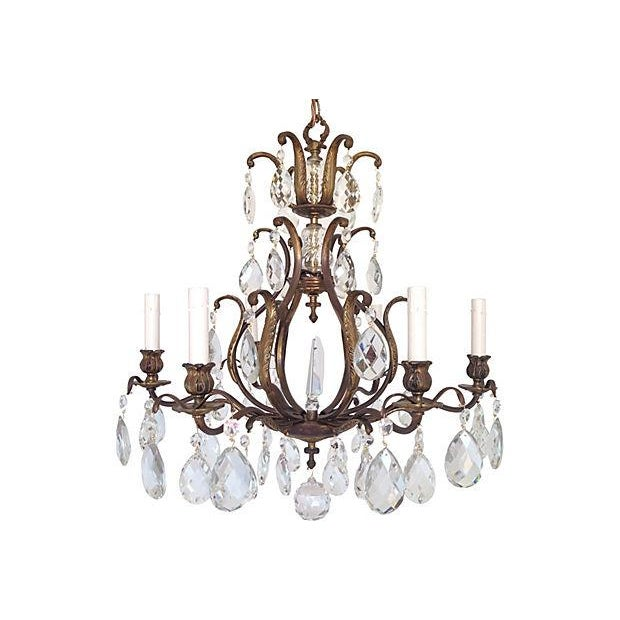 Image of Swedish Crystal Chandelier, C. 1950