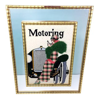 Vintage Flapper Girl & Car Motoring Needlepoint Framed Mirror