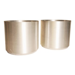 Mid Century Modern Brushed Aluminum Round Planters - A Pair