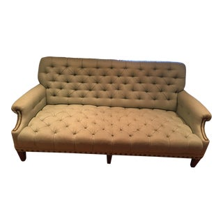Light Blue Tufted & Nailhead Detail Sofa