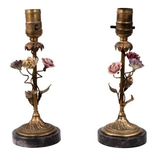 Early 20th Century Brass & Porcelain Flowers French Lamps - a Pair