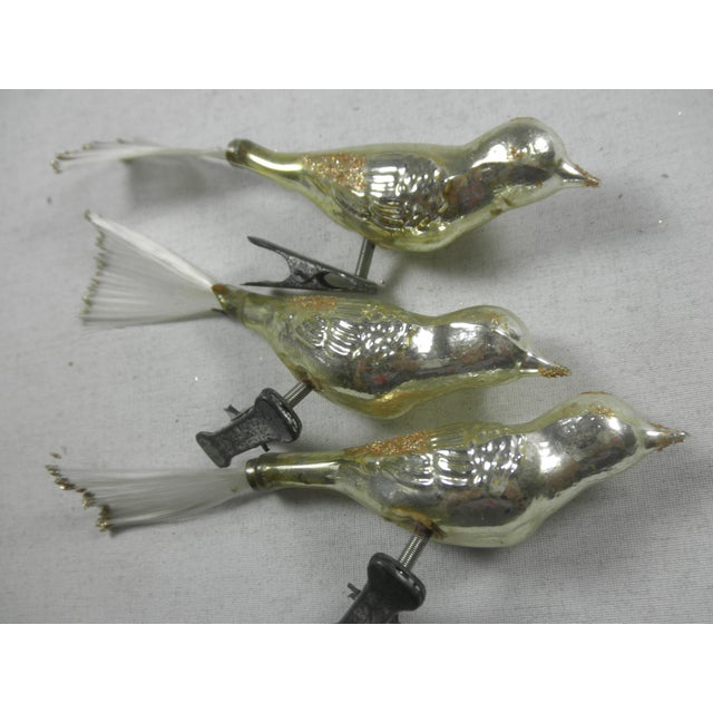 Gold Glass Bird Ornaments - Set of 3 - Image 3 of 3