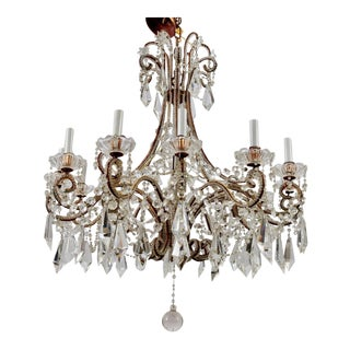 Twelve-Light Italian Crystal Chandelier with Large Drops and Lots of Beading