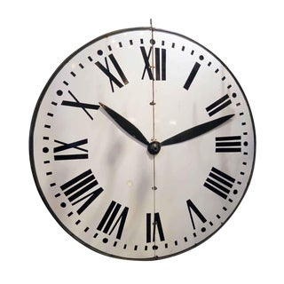 Large Enamel Steel Clock Face with Wooden Hands