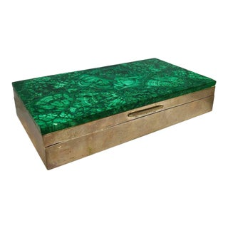 Malachite and Silver Jewelry Dresser Box, Italy, 1960s