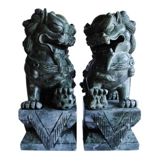 Large Vintage Stone Foo Dogs