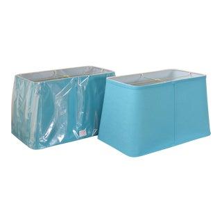 Turquoise Blue Rectangular Drum Shades - A Pair