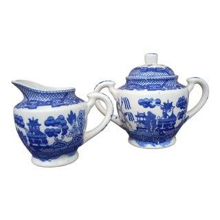 Blue Willow Creamer & Sugar - A Pair