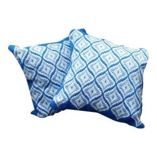 Vintage Bargello Waves Diamond Handmade Needlepoint Pillows - A Pair