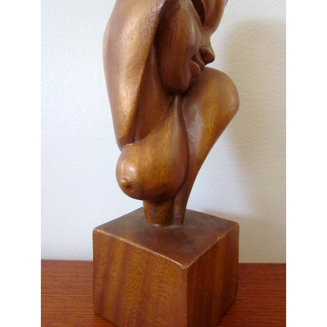 Image of Alii Tiki Modernist Abstract Carved Wood Sculpture