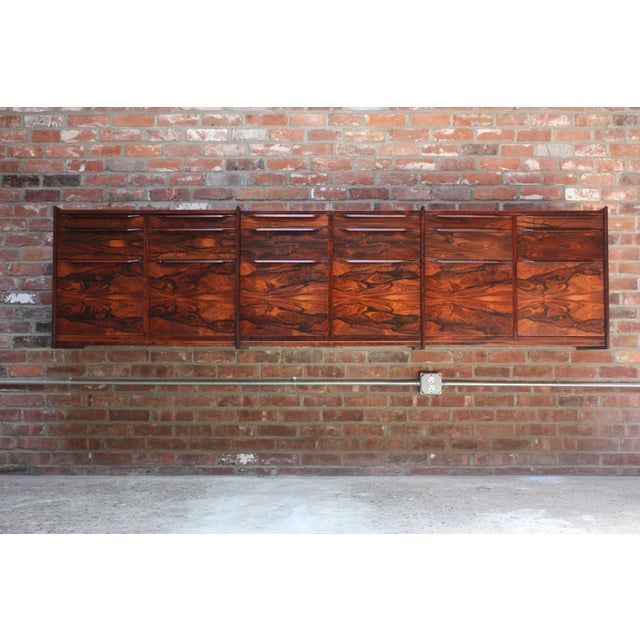 Monumental Scandinavian Modern Rosewood Floating Credenza - Image 2 of 11