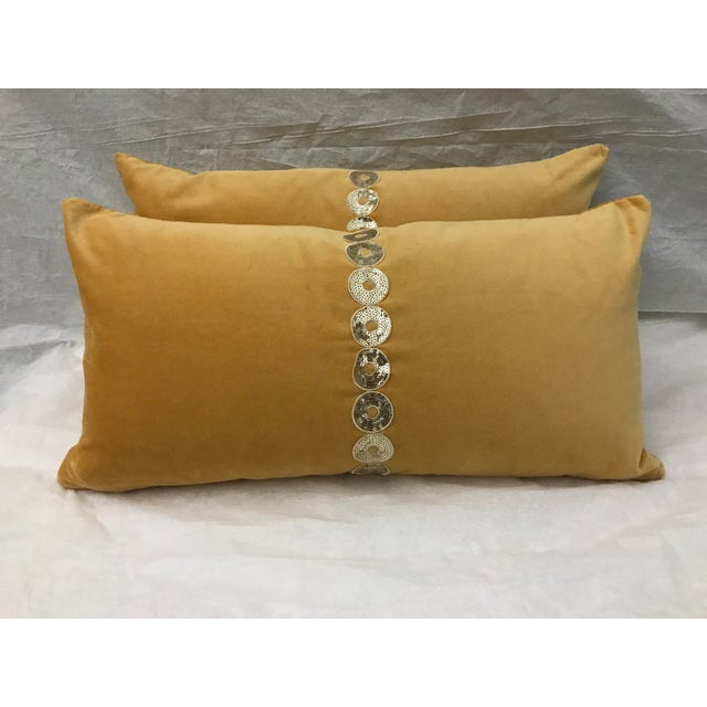 Gold Velvet & Down Feather Lumbar Pillows - a Pair - Image 2 of 3