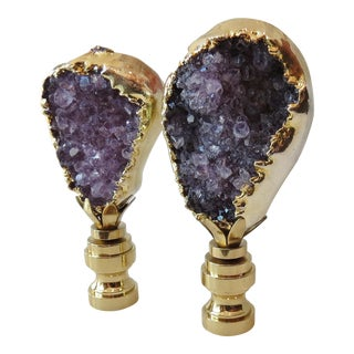 Amethyst Gemstone & Gold Finials - A Pair