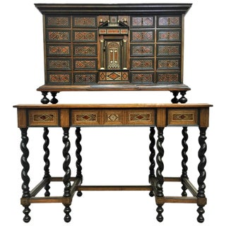 Italian Neoclassical Bargueño Cabinet on Stand