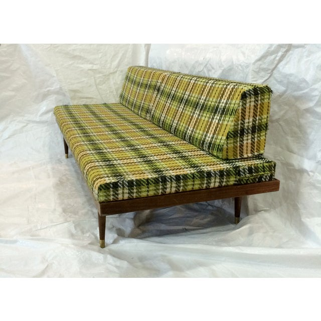 mid century green plaid daybed sofa chairish