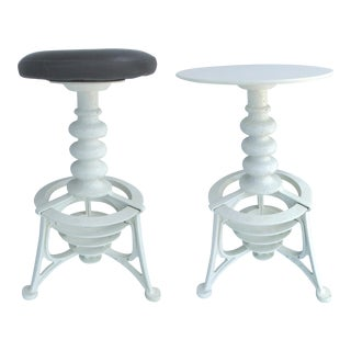 Industrial Interchangeable Tables/Stools - Pair