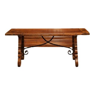 Mid-20th Century Spanish Carved Walnut & Iron Coffee Table