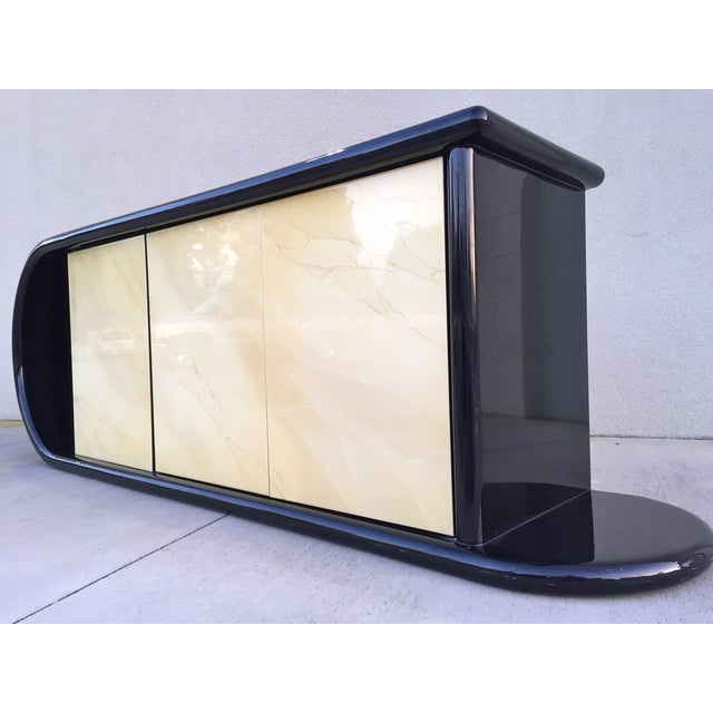 Curved Black Lacquer Credenza - Image 4 of 11