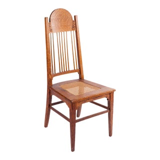 Mid-Century High Back Cane Seat Teak Dining Chair