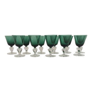 Emerald & Clear Cordial / Liqueur Glasses - Set of 11