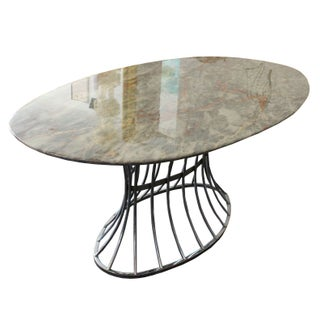 Modern Chrome Dining Table with Marble Top