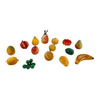 Mid-Century Modern Marble Fruit - Set of 15