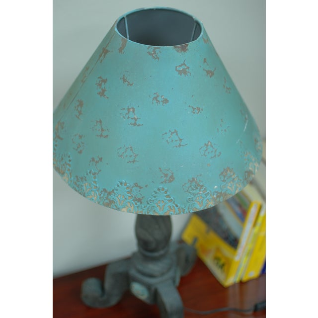 Rustic Metal Rose Turquoise Table Lamp - Image 4 of 5