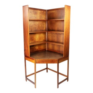 Scandinavian Modern Teak Corner Desk and Bookcase