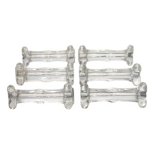 French Sculptural Glass Knife Rests, S/6