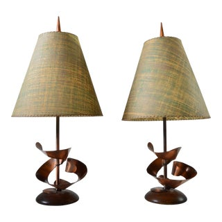 Harry Balmer Mid-Century Brutalist Table Lamps - A Pair