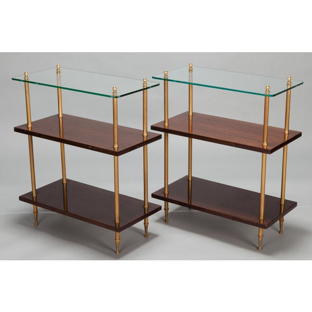 Glass & Walnut 3-Tier Side Tables - A Pair - Image 2 of 5