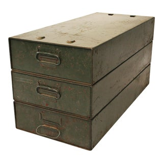 Vintage Industrial Green Stacking Parts Cabinets - Set of 3
