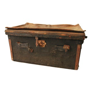 Vintage Distressed Leather Suitcase Trunk