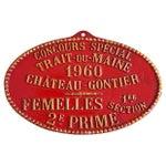 Image of 1960 Vintage French Prize Trophy Award Plaque