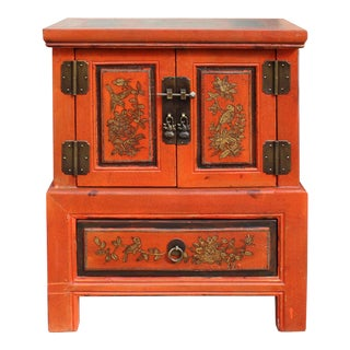Chinese Oriental Distressed Orange Flower End Table Nightstand