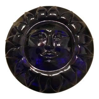 Vintage Cobalt Blue Lead Crystal Sun Paperweight