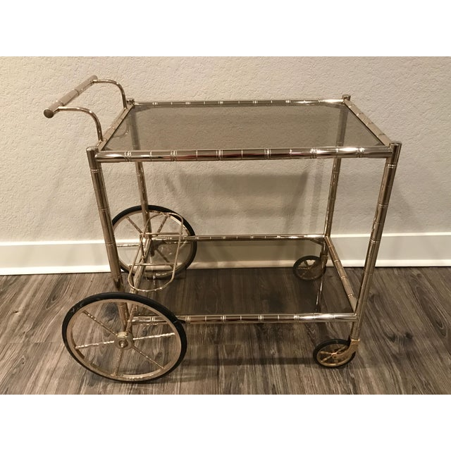 European Bar Cart With Bamboo Accents - Image 2 of 8