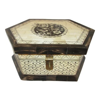 Decorative Hand Painted Bone Inlay Box