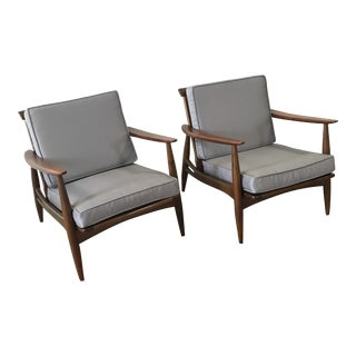 Mid-Century Walnut Lounge Chairs - A Pair