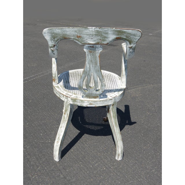 French White Cane Accent Arm Chair on Castors - Image 5 of 11