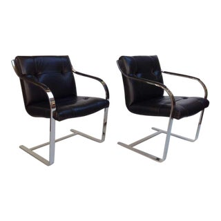 Pair of Polished Stainless Steel and Leather Chairs by Brueton