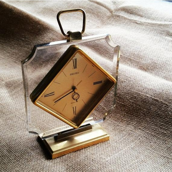 1970s Vintage Lucite and Gold Seiko Clock - Image 2 of 3